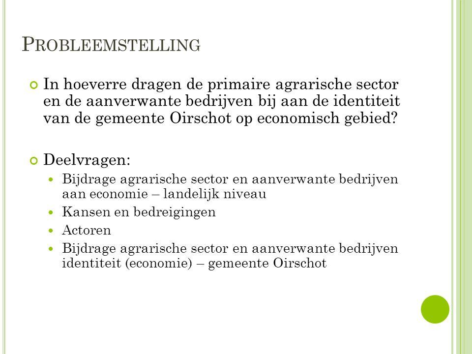P ROBLEEMSTELLING In hoeverre dragen de primaire agrarische sector en de aanverwante bedrijven bij aan de identiteit van de gemeente Oirschot op economisch gebied.