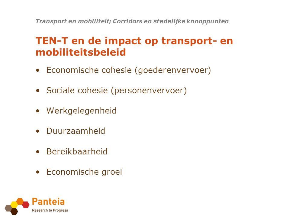 Corridor fora opgericht Critical issues / bottlenecks zijn geïdentificeerd Projectenlijst geïdentificeerd Werkplan gepubliceerd Transport en mobiliteit; Corridors en stedelijke knooppunten Uitkomst corridor onderzoeken