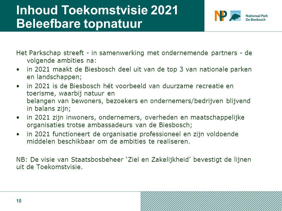 Het Parkschap streeft - in samenwerking met ondernemende partners - de volgende ambities na: in 2021 maakt de Biesbosch deel uit van de top 3 van nationale parken en landschappen; in 2021 is de Biesbosch hét voorbeeld van duurzame recreatie en toerisme, waarbij natuur en belangen van bewoners, bezoekers en ondernemers/bedrijven blijvend in balans zijn; in 2021 zijn inwoners, ondernemers, overheden en maatschappelijke organisaties trotse ambassadeurs van de Biesbosch; in 2021 functioneert de organisatie professioneel en zijn voldoende middelen beschikbaar om de ambities te realiseren.