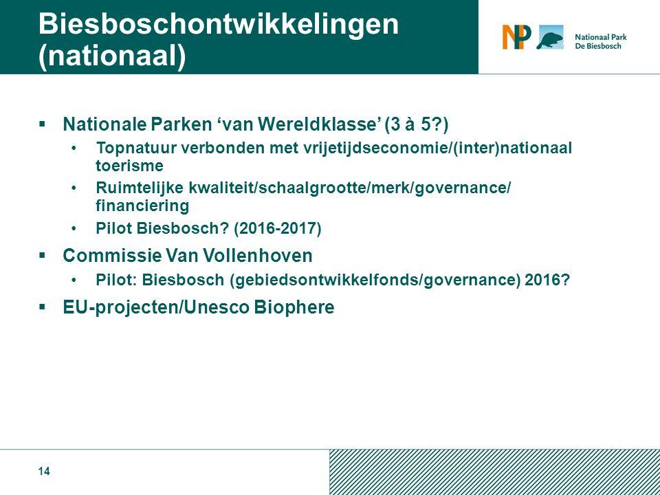  Nationale Parken 'van Wereldklasse' (3 à 5?) Topnatuur verbonden met vrijetijdseconomie/(inter)nationaal toerisme Ruimtelijke kwaliteit/schaalgrootte/merk/governance/ financiering Pilot Biesbosch.
