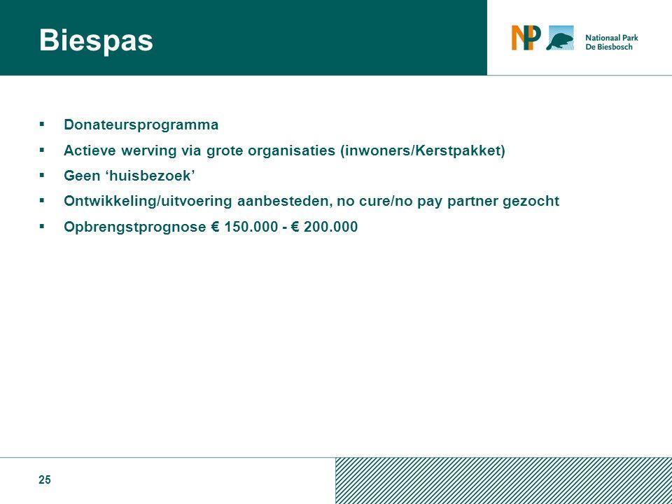  Donateursprogramma  Actieve werving via grote organisaties (inwoners/Kerstpakket)  Geen 'huisbezoek'  Ontwikkeling/uitvoering aanbesteden, no cure/no pay partner gezocht  Opbrengstprognose € 150.000 - € 200.000 25 Biespas