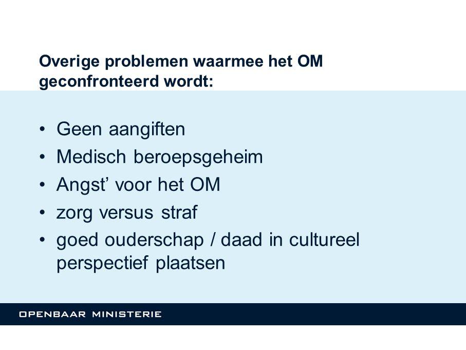 Overige problemen waarmee het OM geconfronteerd wordt: Geen aangiften Medisch beroepsgeheim Angst' voor het OM zorg versus straf goed ouderschap / daa