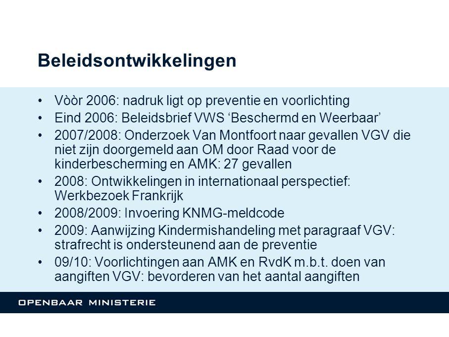 Beleidsontwikkelingen Vòòr 2006: nadruk ligt op preventie en voorlichting Eind 2006: Beleidsbrief VWS 'Beschermd en Weerbaar' 2007/2008: Onderzoek Van