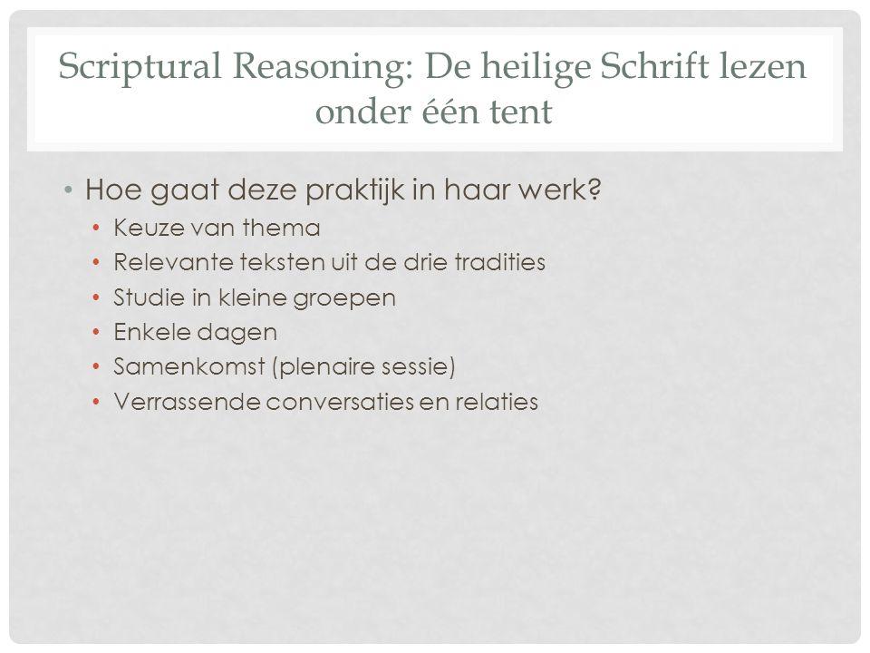 Scriptural Reasoning: De heilige Schrift lezen onder één tent Hoe gaat deze praktijk in haar werk? Keuze van thema Relevante teksten uit de drie tradi