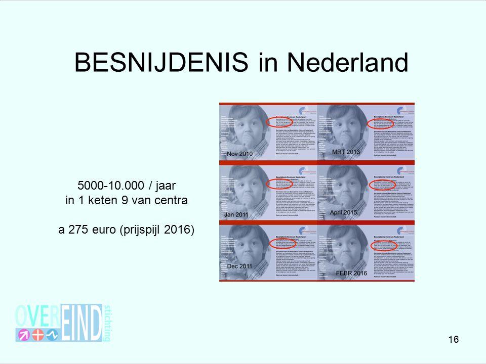 BESNIJDENIS in Nederland 5000-10.000 / jaar in 1 keten 9 van centra a 275 euro (prijspijl 2016) 16