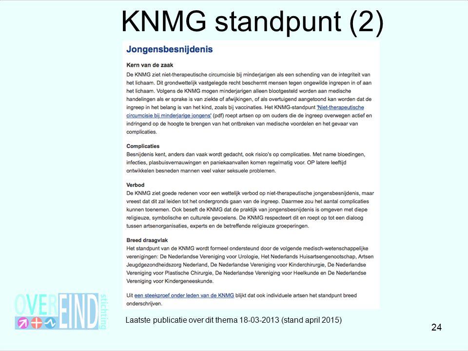 Laatste publicatie over dit thema 18-03-2013 (stand april 2015) 24 KNMG standpunt (2)