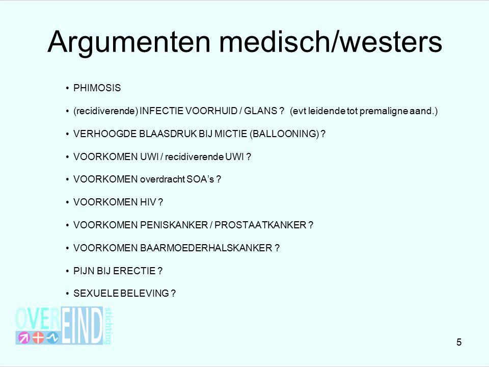 Argumenten medisch/westers PHIMOSIS (recidiverende) INFECTIE VOORHUID / GLANS ? (evt leidende tot premaligne aand.) VERHOOGDE BLAASDRUK BIJ MICTIE (BA