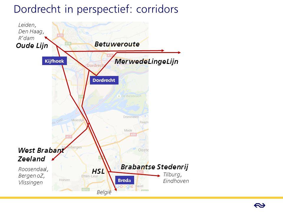 - Concept - Dordrecht in perspectief: corridors Oude Lijn Leiden, Den Haag, R'dam Betuweroute MerwedeLingeLijn West Brabant Zeeland Brabantse Stedenrij HSL Roosendaal, Bergen oZ, Vlissingen België Tilburg, Eindhoven Kijfhoek Dordrecht Breda