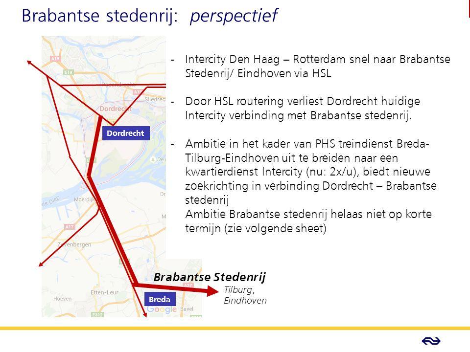 - Concept - Brabantse stedenrij: perspectief Brabantse Stedenrij Tilburg, Eindhoven Dordrecht Breda - Intercity Den Haag – Rotterdam snel naar Brabantse Stedenrij/ Eindhoven via HSL - Door HSL routering verliest Dordrecht huidige Intercity verbinding met Brabantse stedenrij.
