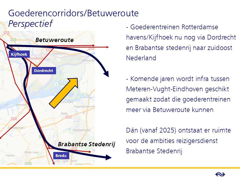 - Concept - Betuweroute Brabantse Stedenrij Dordrecht Breda Goederencorridors/Betuweroute Perspectief - Goederentreinen Rotterdamse havens/Kijfhoek nu nog via Dordrecht en Brabantse stedenrij naar zuidoost Nederland - Komende jaren wordt infra tussen Meteren-Vught-Eindhoven geschikt gemaakt zodat die goederentreinen meer via Betuweroute kunnen Dán (vanaf 2025) ontstaat er ruimte voor de ambities reizigersdienst Brabantse Stedenrij Kijfhoek