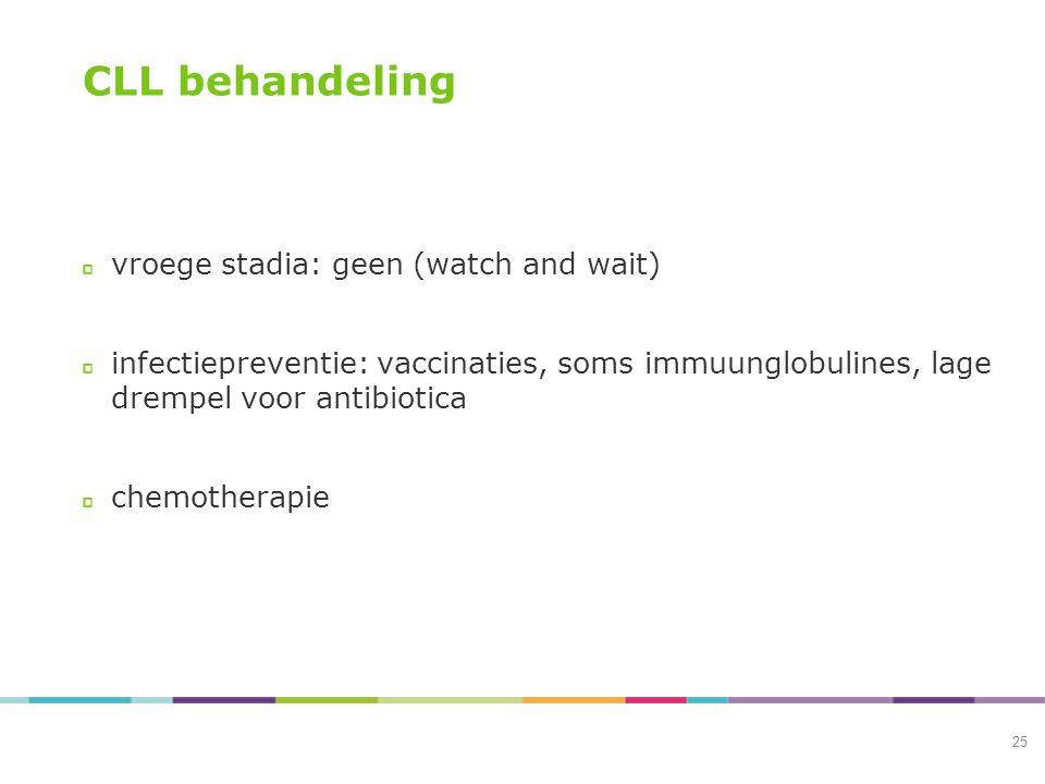 CLL behandeling vroege stadia: geen (watch and wait) infectiepreventie: vaccinaties, soms immuunglobulines, lage drempel voor antibiotica chemotherapi