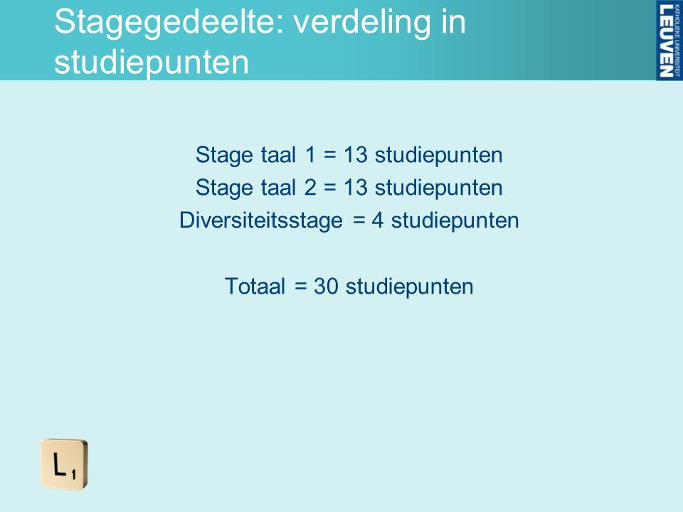Stagegedeelte: verdeling in studiepunten Stage taal 1 = 13 studiepunten Stage taal 2 = 13 studiepunten Diversiteitsstage = 4 studiepunten Totaal = 30