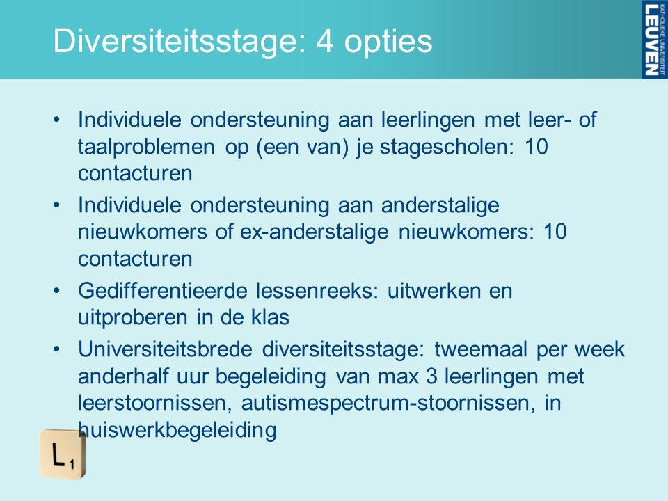 Diversiteitsstage: 4 opties Individuele ondersteuning aan leerlingen met leer- of taalproblemen op (een van) je stagescholen: 10 contacturen Individue