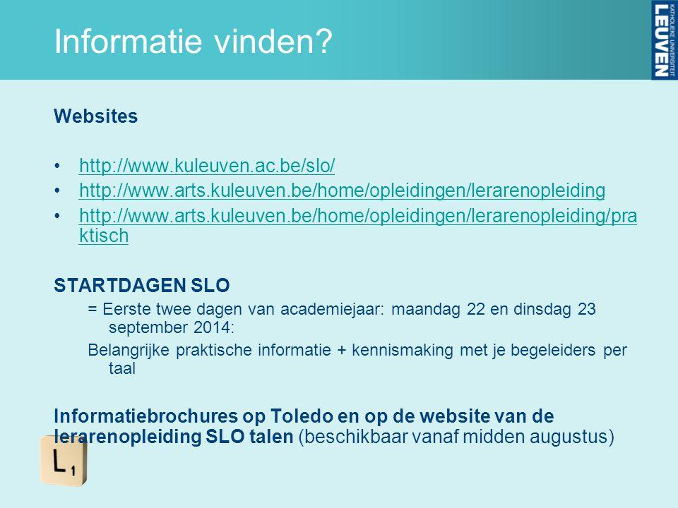 Informatie vinden? Websites http://www.kuleuven.ac.be/slo/ http://www.arts.kuleuven.be/home/opleidingen/lerarenopleiding http://www.arts.kuleuven.be/h