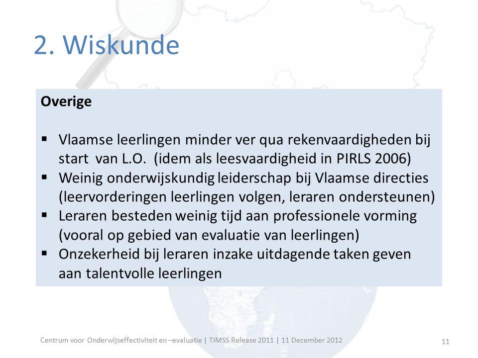 Overige  Vlaamse leerlingen minder ver qua rekenvaardigheden bij start van L.O. (idem als leesvaardigheid in PIRLS 2006)  Weinig onderwijskundig lei