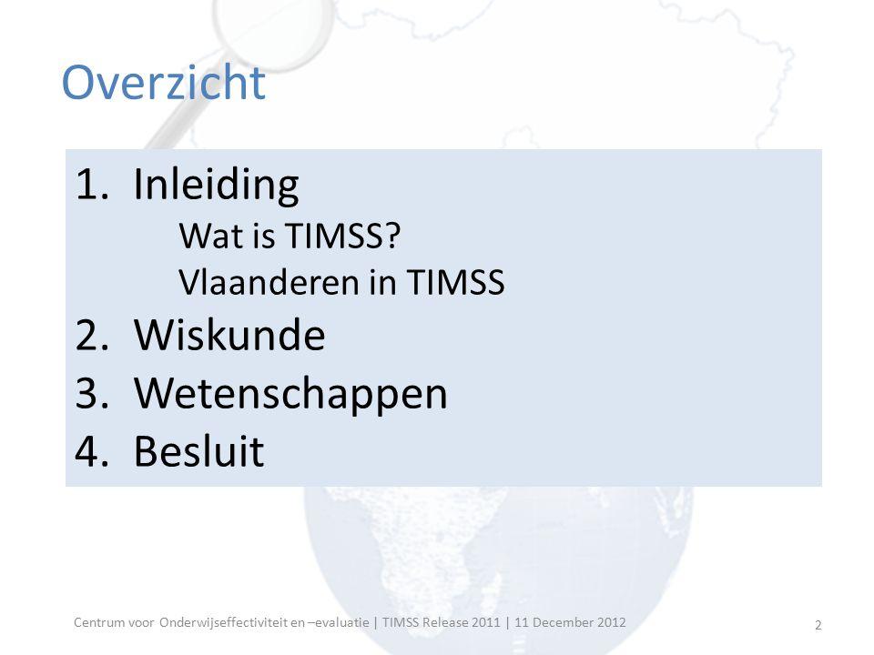 Overzicht 1. Inleiding Wat is TIMSS? Vlaanderen in TIMSS 2. Wiskunde 3. Wetenschappen 4. Besluit Centrum voor Onderwijseffectiviteit en –evaluatie | T
