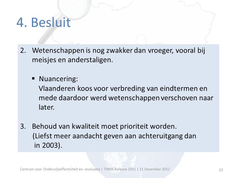 Centrum voor Onderwijseffectiviteit en –evaluatie | TIMSS Release 2011 | 11 December 2012 4. Besluit 2.Wetenschappen is nog zwakker dan vroeger, voora