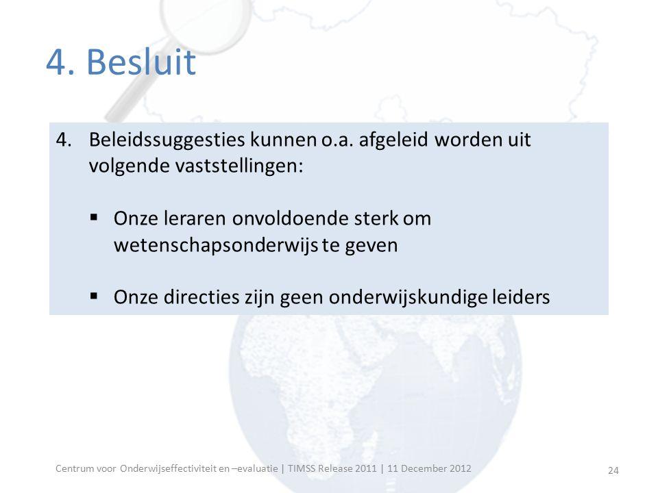 Centrum voor Onderwijseffectiviteit en –evaluatie | TIMSS Release 2011 | 11 December 2012 4. Besluit 4.Beleidssuggesties kunnen o.a. afgeleid worden u