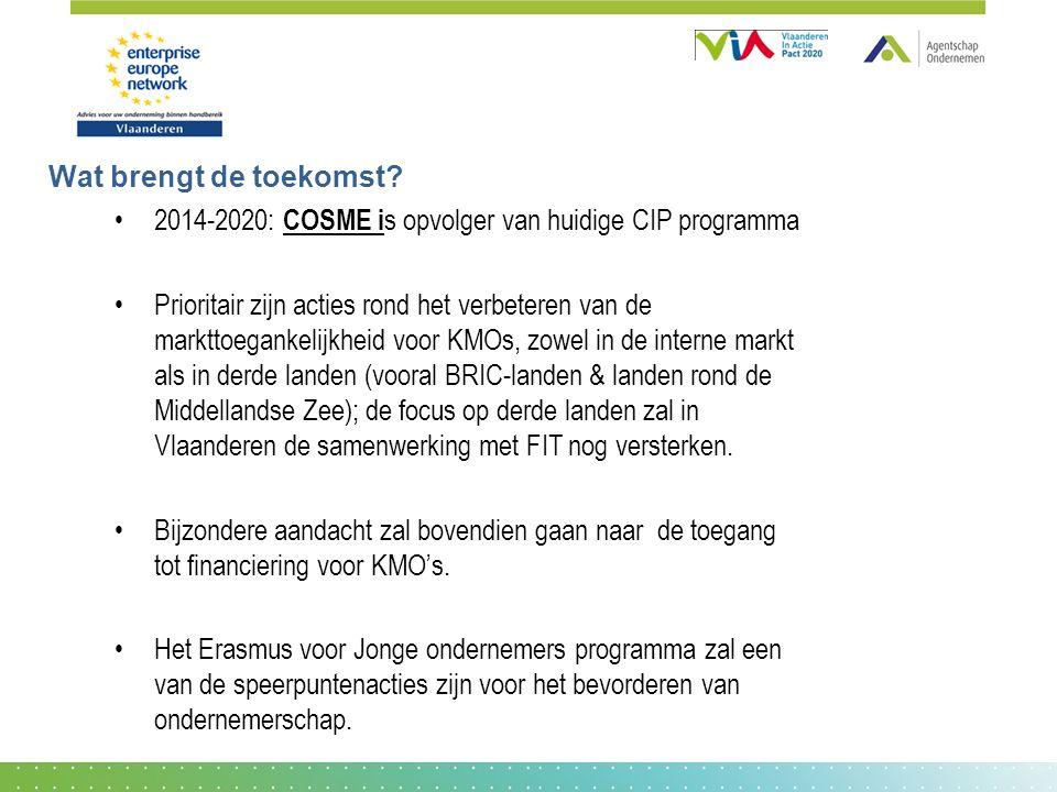 Wat brengt de toekomst? 2014-2020: COSME i s opvolger van huidige CIP programma Prioritair zijn acties rond het verbeteren van de markttoegankelijkhei
