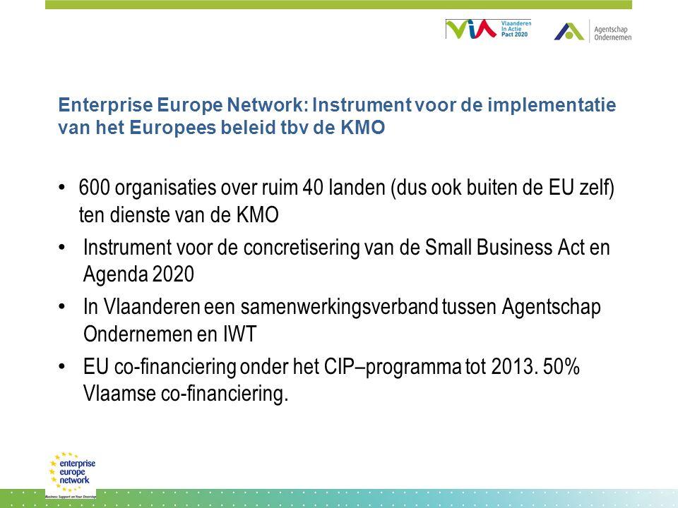 Enterprise Europe Network: Instrument voor de implementatie van het Europees beleid tbv de KMO 600 organisaties over ruim 40 landen (dus ook buiten de EU zelf) ten dienste van de KMO Instrument voor de concretisering van de Small Business Act en Agenda 2020 In Vlaanderen een samenwerkingsverband tussen Agentschap Ondernemen en IWT EU co-financiering onder het CIP–programma tot 2013.