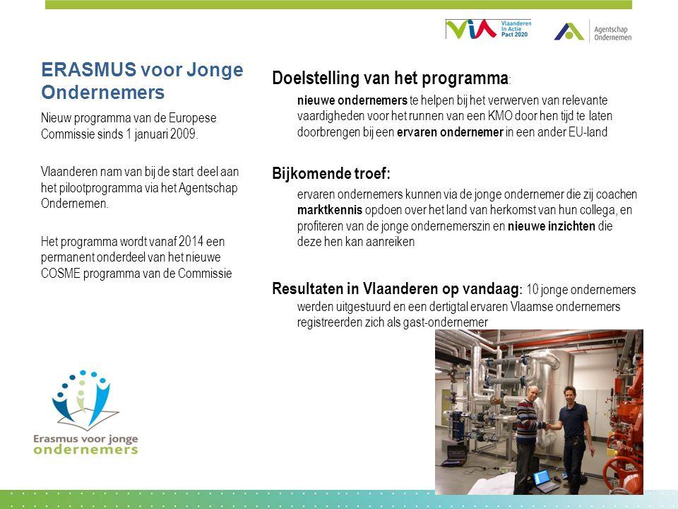 ERASMUS voor Jonge Ondernemers Doelstelling van het programma : nieuwe ondernemers te helpen bij het verwerven van relevante vaardigheden voor het runnen van een KMO door hen tijd te laten doorbrengen bij een ervaren ondernemer in een ander EU-land Bijkomende troef: ervaren ondernemers kunnen via de jonge ondernemer die zij coachen marktkennis opdoen over het land van herkomst van hun collega, en profiteren van de jonge ondernemerszin en nieuwe inzichten die deze hen kan aanreiken Resultaten in Vlaanderen op vandaag : 10 jonge ondernemers werden uitgestuurd en een dertigtal ervaren Vlaamse ondernemers registreerden zich als gast-ondernemer Nieuw programma van de Europese Commissie sinds 1 januari 2009.