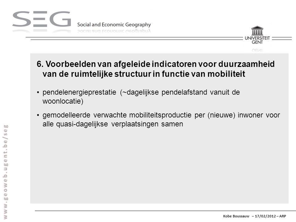 Kobe Boussauw – 17/02/2012 – ARP 6. Voorbeelden van afgeleide indicatoren voor duurzaamheid van de ruimtelijke structuur in functie van mobiliteit pen
