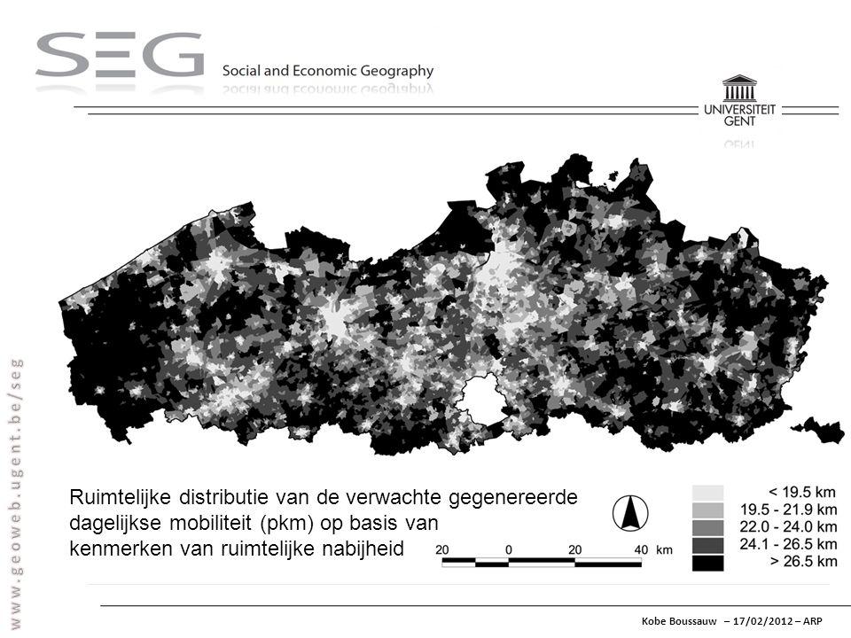 Ruimtelijke distributie van de verwachte gegenereerde dagelijkse mobiliteit (pkm) op basis van kenmerken van ruimtelijke nabijheid