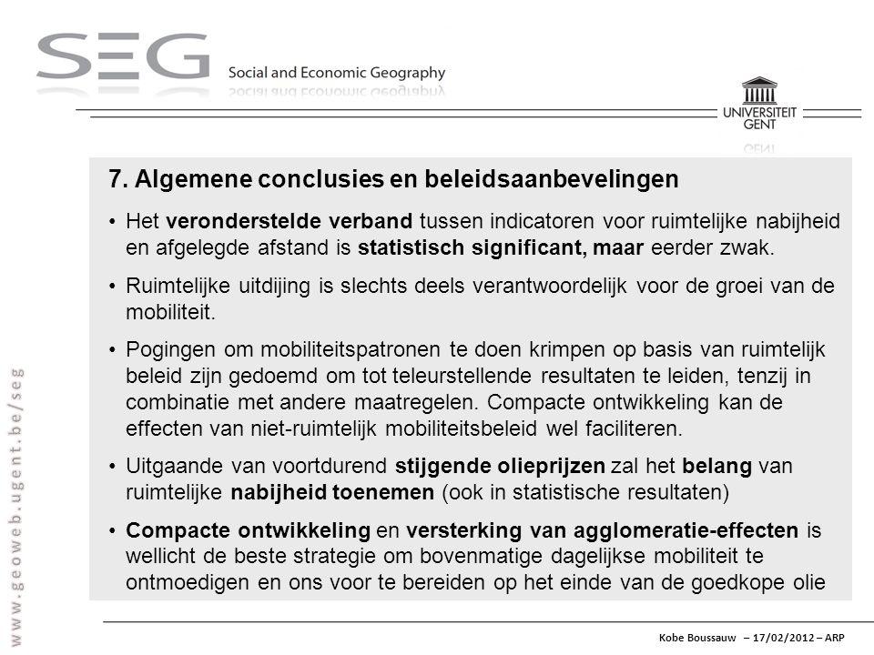 Kobe Boussauw – 17/02/2012 – ARP 7. Algemene conclusies en beleidsaanbevelingen Het veronderstelde verband tussen indicatoren voor ruimtelijke nabijhe