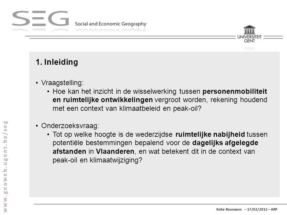 Kobe Boussauw – 17/02/2012 – ARP 1. Inleiding Vraagstelling: Hoe kan het inzicht in de wisselwerking tussen personenmobiliteit en ruimtelijke ontwikke