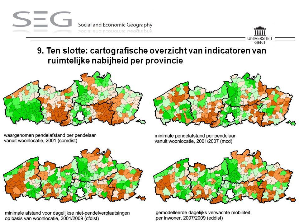 Kobe Boussauw – 17/02/2012 – ARP 9. Ten slotte: cartografische overzicht van indicatoren van ruimtelijke nabijheid per provincie