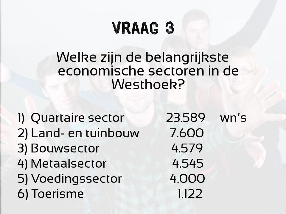 Vraag 3 Welke zijn de belangrijkste economische sectoren in de Westhoek? 1) Quartaire sector 23.589 wn's 2) Land- en tuinbouw 7.600 3) Bouwsector 4.57