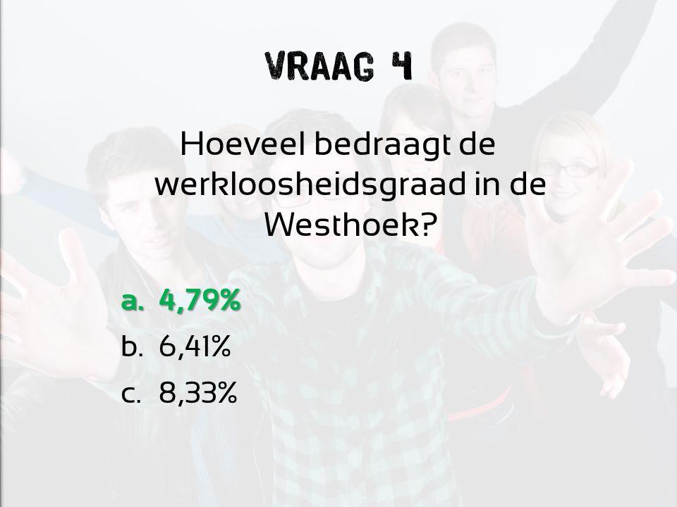 Vraag 4 Hoeveel bedraagt de werkloosheidsgraad in de Westhoek? a.4,79% b.6,41% c.8,33%