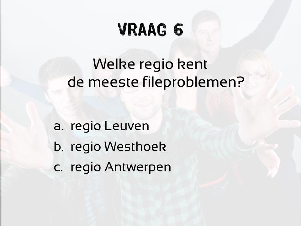 Vraag 6 Welke regio kent de meeste fileproblemen? a.regio Leuven b.regio Westhoek c.regio Antwerpen