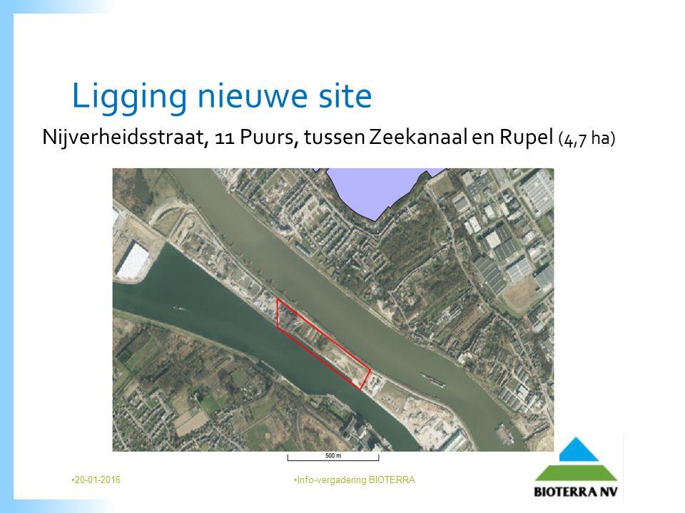 Ligging nieuwe site Nijverheidsstraat, 11 Puurs, tussen Zeekanaal en Rupel (4,7 ha) 20-01-2016 Info-vergadering BIOTERRA