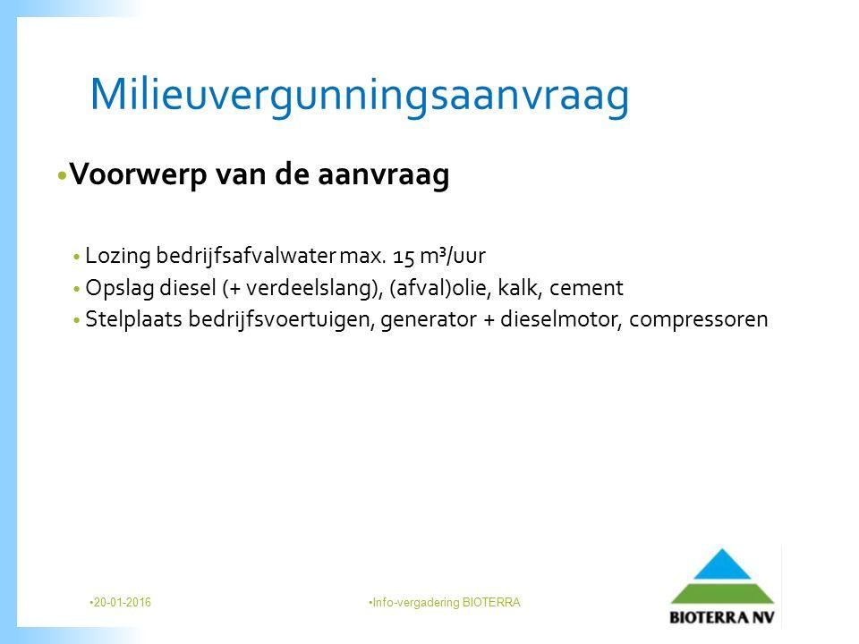 Milieuvergunningsaanvraag Voorwerp van de aanvraag Lozing bedrijfsafvalwater max.