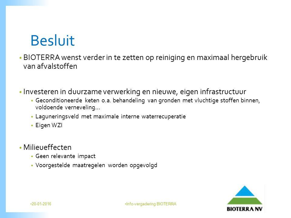 Besluit BIOTERRA wenst verder in te zetten op reiniging en maximaal hergebruik van afvalstoffen Investeren in duurzame verwerking en nieuwe, eigen infrastructuur Geconditioneerde keten o.a.