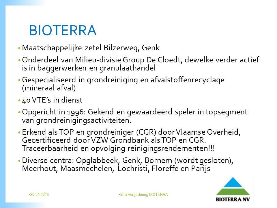 BIOTERRA Maatschappelijke zetel Bilzerweg, Genk Onderdeel van Milieu-divisie Group De Cloedt, dewelke verder actief is in baggerwerken en granulaathandel Gespecialiseerd in grondreiniging en afvalstoffenrecyclage (mineraal afval) 40 VTE's in dienst Opgericht in 1996: Gekend en gewaardeerd speler in topsegment van grondreinigingsactiviteiten.