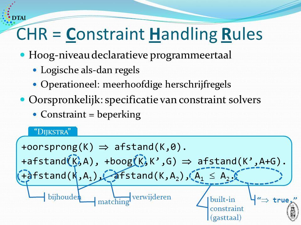 CHR = Constraint Handling Rules Hoog-niveau declaratieve programmeertaal Logische als-dan regels Operationeel: meerhoofdige herschrijfregels Oorspronkelijk: specificatie van constraint solvers Constraint = beperking +oorsprong(K)  afstand(K,0).