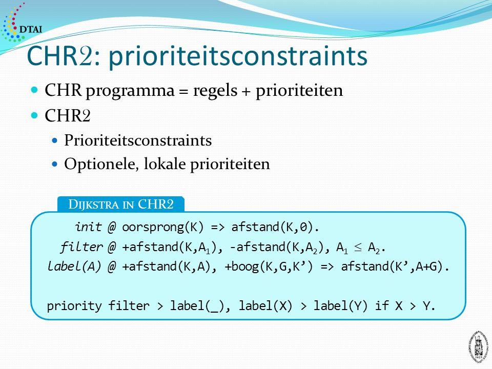 CHR 2 : prioriteitsconstraints CHR programma = regels + prioriteiten CHR 2 Prioriteitsconstraints Optionele, lokale prioriteiten init @ oorsprong(K) => afstand(K,0).