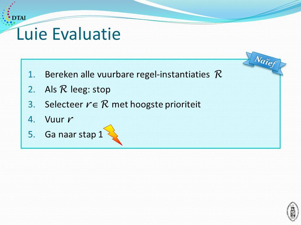 Luie Evaluatie 1.Bereken alle vuurbare regel-instantiaties R 2.Als R leeg: stop 3.Selecteer r  R met hoogste prioriteit 4.Vuur r 5.Ga naar stap 1 Naïef