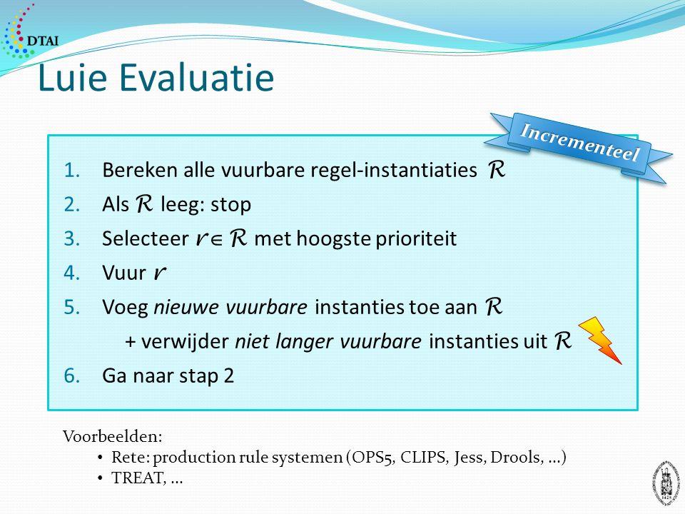 Luie Evaluatie 1.Bereken alle vuurbare regel-instantiaties R 2.Als R leeg: stop 3.Selecteer r  R met hoogste prioriteit 4.Vuur r 5.Voeg nieuwe vuurbare instanties toe aan R + verwijder niet langer vuurbare instanties uit R 6.Ga naar stap 2 IncrementeelIncrementeel Voorbeelden: Rete: production rule systemen (OPS5, CLIPS, Jess, Drools,...) TREAT,...