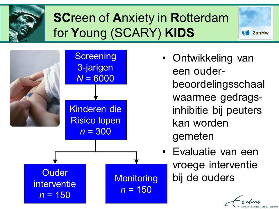 Screening 3-jarigen N = 6000 SCreen of Anxiety in Rotterdam for Young (SCARY) KIDS Kinderen die Risico lopen n = 300 Ouder interventie n = 150 Monitoring n = 150 Ontwikkeling van een ouder- beoordelingsschaal waarmee gedrags- inhibitie bij peuters kan worden gemeten Evaluatie van een vroege interventie bij de ouders