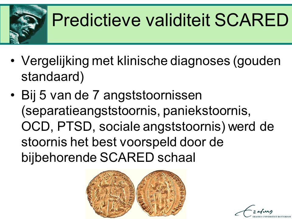 Predictieve validiteit SCARED Vergelijking met klinische diagnoses (gouden standaard) Bij 5 van de 7 angststoornissen (separatieangststoornis, paniekstoornis, OCD, PTSD, sociale angststoornis) werd de stoornis het best voorspeld door de bijbehorende SCARED schaal
