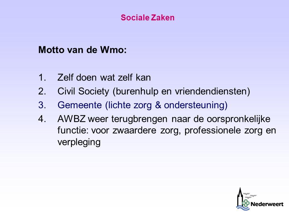 Sociale Zaken Motto van de Wmo: 1.Zelf doen wat zelf kan 2.Civil Society (burenhulp en vriendendiensten) 3.Gemeente (lichte zorg & ondersteuning) 4.AWBZ weer terugbrengen naar de oorspronkelijke functie: voor zwaardere zorg, professionele zorg en verpleging