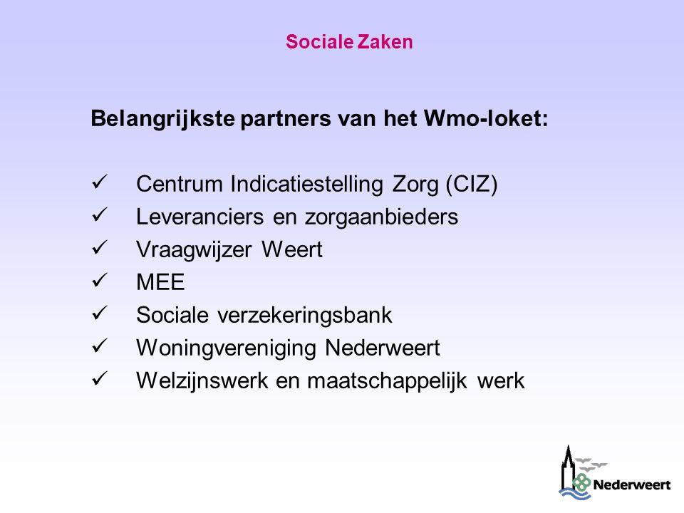 Sociale Zaken Belangrijkste partners van het Wmo-loket: Centrum Indicatiestelling Zorg (CIZ) Leveranciers en zorgaanbieders Vraagwijzer Weert MEE Sociale verzekeringsbank Woningvereniging Nederweert Welzijnswerk en maatschappelijk werk