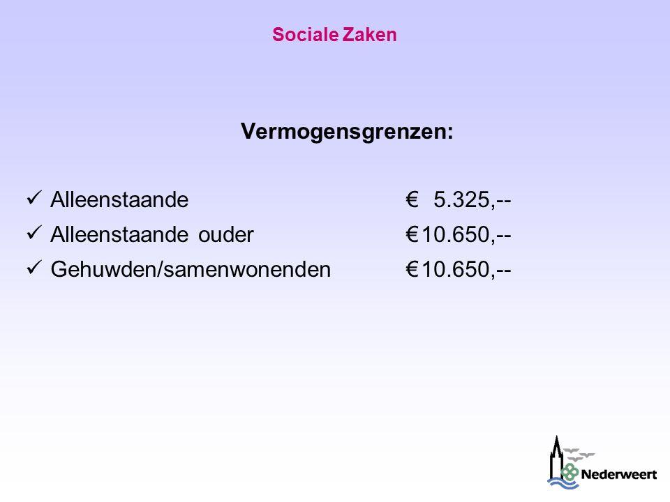 Sociale Zaken Vermogensgrenzen: Alleenstaande €5.325,-- Alleenstaande ouder €10.650,-- Gehuwden/samenwonenden €10.650,--