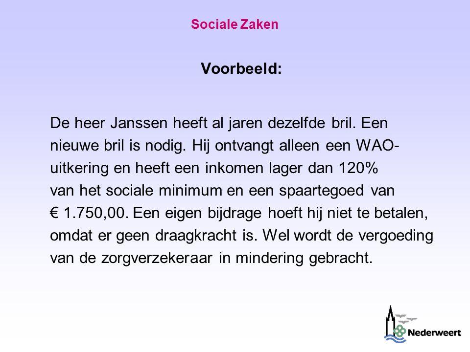 Sociale Zaken Voorbeeld: De heer Janssen heeft al jaren dezelfde bril.