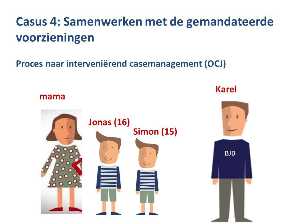 Casus 4: Samenwerken met de gemandateerde voorzieningen Proces naar interveniërend casemanagement (OCJ) mama Jonas (16) Simon (15) Karel BJB