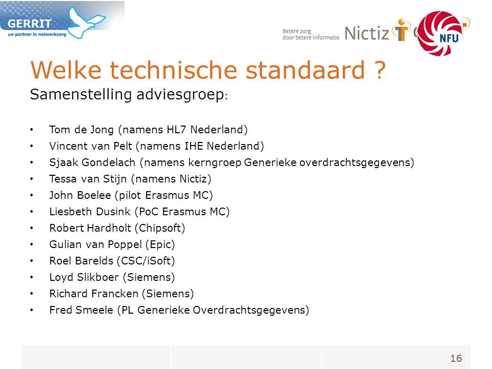Welke technische standaard ? Samenstelling adviesgroep : Tom de Jong (namens HL7 Nederland) Vincent van Pelt (namens IHE Nederland) Sjaak Gondelach (n