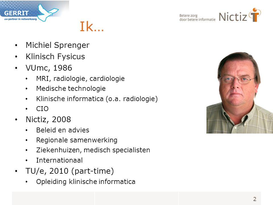Nictiz Nationaal ICT Instituut voor de zorg Vanaf 2002, nu ca 40 fte Stichting zonder winstoogmerk 95% VWS financiering Taken: Bevordering standaardisatie en interoperabiliteit Kennis en advies, nationaal / internationaal Verbinden: creëren partnerships Monitoring: hoe staat NL ervoor.